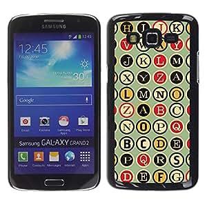 Be Good Phone Accessory // Dura Cáscara cubierta Protectora Caso Carcasa Funda de Protección para Samsung Galaxy Grand 2 SM-G7102 SM-G7105 // Metro Typewriter Writer Pattern