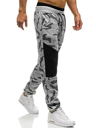 d67fff672 Ouber Men's Slim Fit Camo Jogger Sweatpant Cotton Tapered Gym Pants(S,Grey)