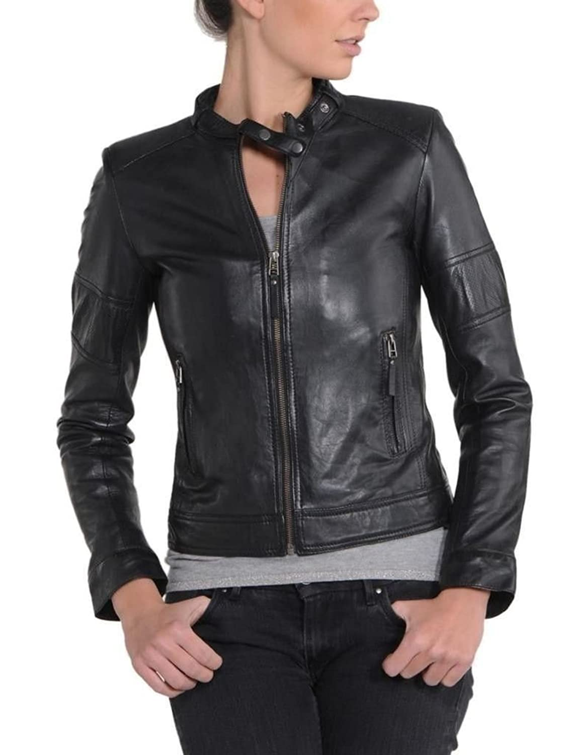 Western Leather Women's Lambskin Leather Bomber Biker Jacket