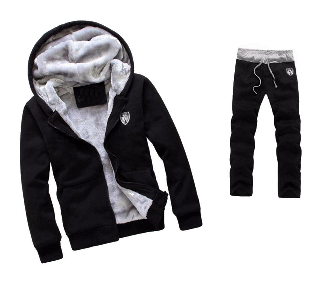 WM&MW Mens Tracksuit Warm Fleece Sport Zipper Hooded Sweatshirt Coat Hoodies+ Gym Sweat Pants (2XL (Asia:3XL), Black) by WM&MW