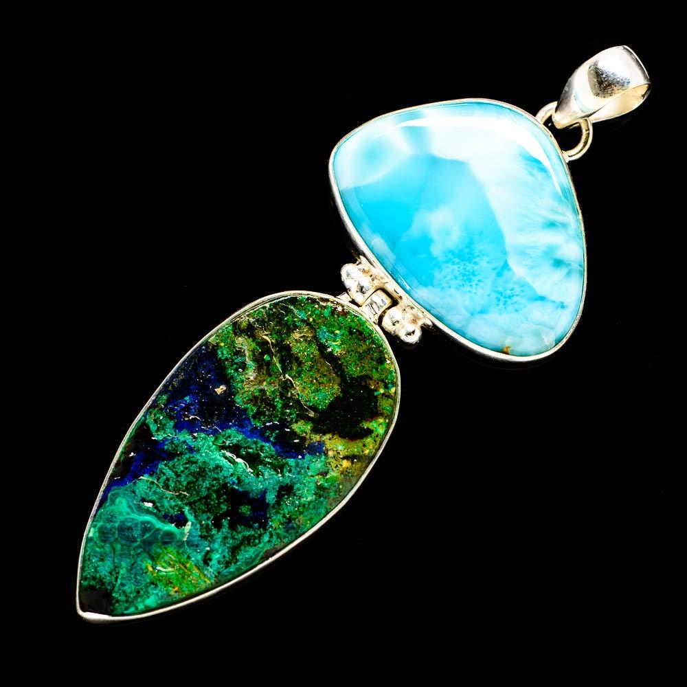 Vintage PD700355 Ana Silver Co Huge Azurite In Malachite Handmade Jewelry Larimar 925 Sterling Silver Pendant 3 Bohemian