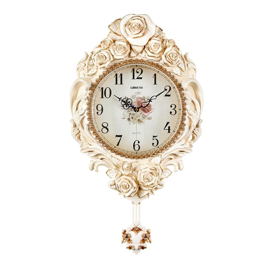 ALUPヨーロッパの寝室のリビングルームの壁時計は、パーソナライズされた創造的な時計をチェックしていません (色 : A) B07F3LSWZDA