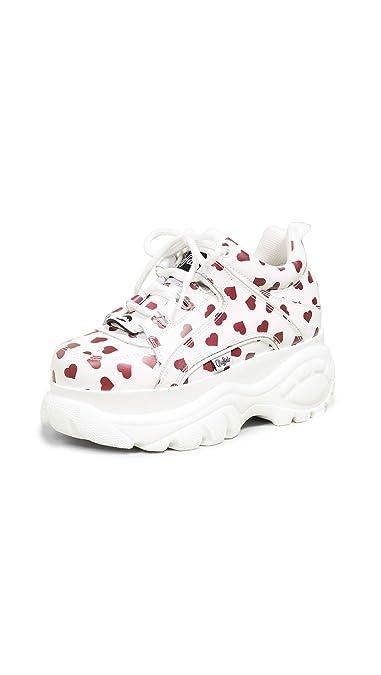 online store 6e21d f0f9d Buffalo London 1339-14 Damen Weiß/Rot Hearts Sneakers