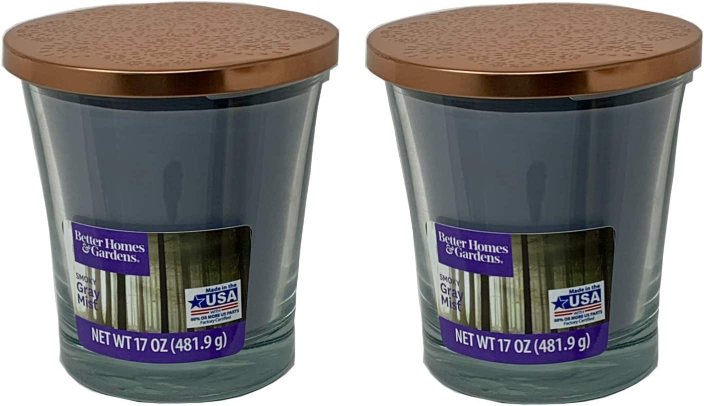 Better Homes Gardens 17oz Scented Candle, Smoky Gray Mist 2-Pack