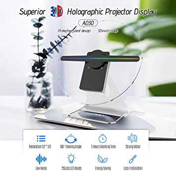 Festnight Holograma 3D portátil Fan Proyector holográfico digital ...