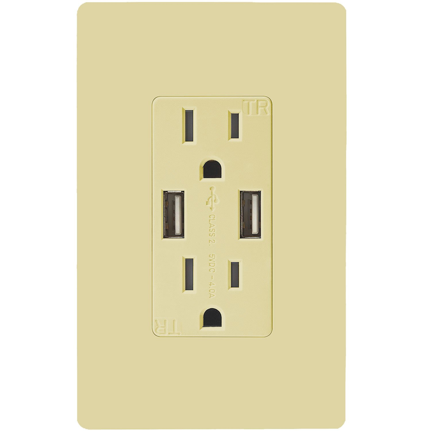 TOPGREENER TU2154A 4A High Speed Dual USB Charger Outlet 15A Tamper Resistant Receptacle & 2 Free Wall Plates, Ivory