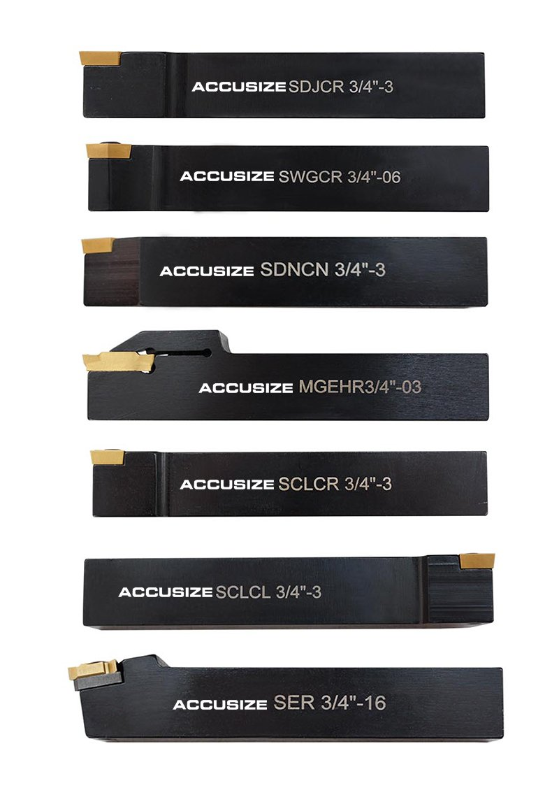 AccusizeTools - 7 Pieces/Set 3/4'' Indexable Carbide Turning Tool Set in Fitted Box, Lathe tool #2387-2006