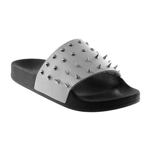 mode de luxe vaste gamme de style moderne Angkorly - Chaussure Mode Mule Sandale Slip-on Claquettes Femme clouté  Perle Talon Plat 2 CM