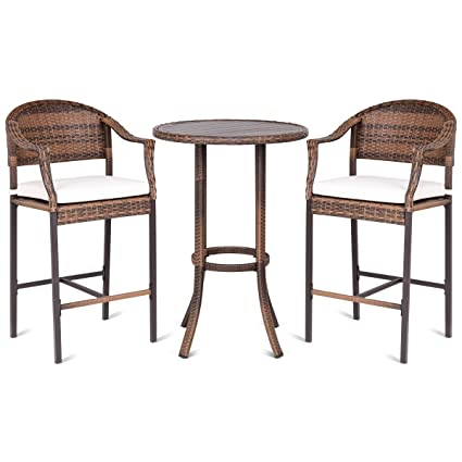 TANGKULA Patio Bar Set 3 Piece Wicker Rattan All Weahter Durable Poolside  Balcony Garden Furniture