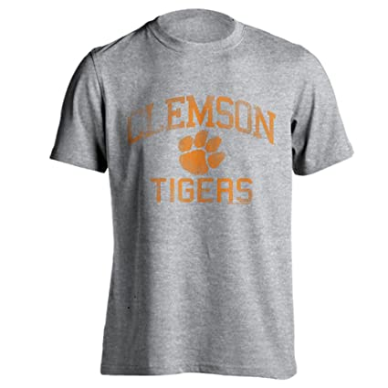 17140024234 Southland Graphics Apparel Clemson University Tigers Distressed Retro Logo  Tiger Paw Ash Heather Short Sleeve T