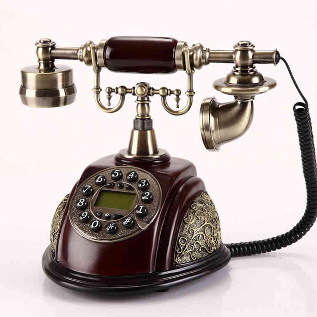 アンティーク自宅の電話 - 押しボタンとロータリー電話 - 有線レトロ電話 - 人工装飾電話 - 自宅の固定電話とオフィス電話 (三 : B) B07MQS1JM3  B