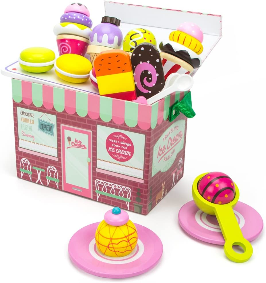 Imagination Generation Wooden Portable Ice Cream Parlor Set - 26 Pieces!