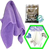 Streak Free Window Cleaning Kit - Glass Cleaner & Microfiber Cloth PLUS Bonus CleansGreen Microfiber Reusable Wipes and Rags Best for Mirror, Stainless, Auto Windshield for Safe Lint Free Results