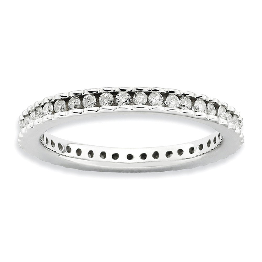Diamond (I3, J-K 0.5 cttw) Size 6 2.25mm Waved Eternity Band Silver Stackable Expressions Ring