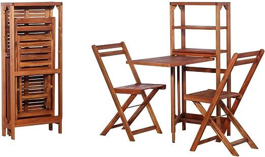Festnight Conjunto de Muebles de Jardín de Madera Incluye 1 Estante de Almacenamiento y 2 Sillas Plegables: Amazon.es: Hogar