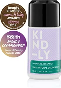 KIND-LY 100% Natural Probiotic Magnesium Deodorant Roll-On (Lavender & Bergamot). No Aluminium, Parabens, Alcohol; Award-Winning, Organic, Vegan, Cruelty-Free, Australian Made (60ml)