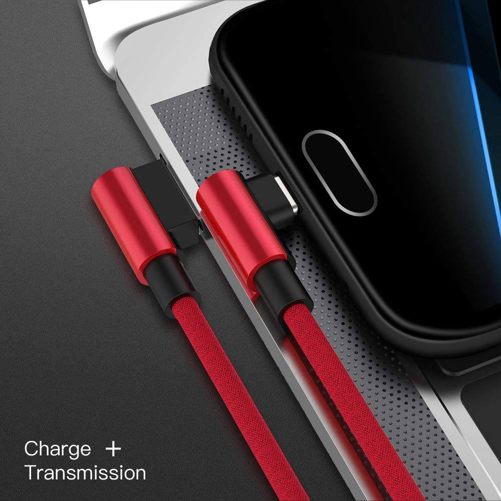 Color : Black YOZOOE 90 Degree Angle Fast Charge Type C Cable Rapid Power Cord L-Shape Charger USB-C 1M