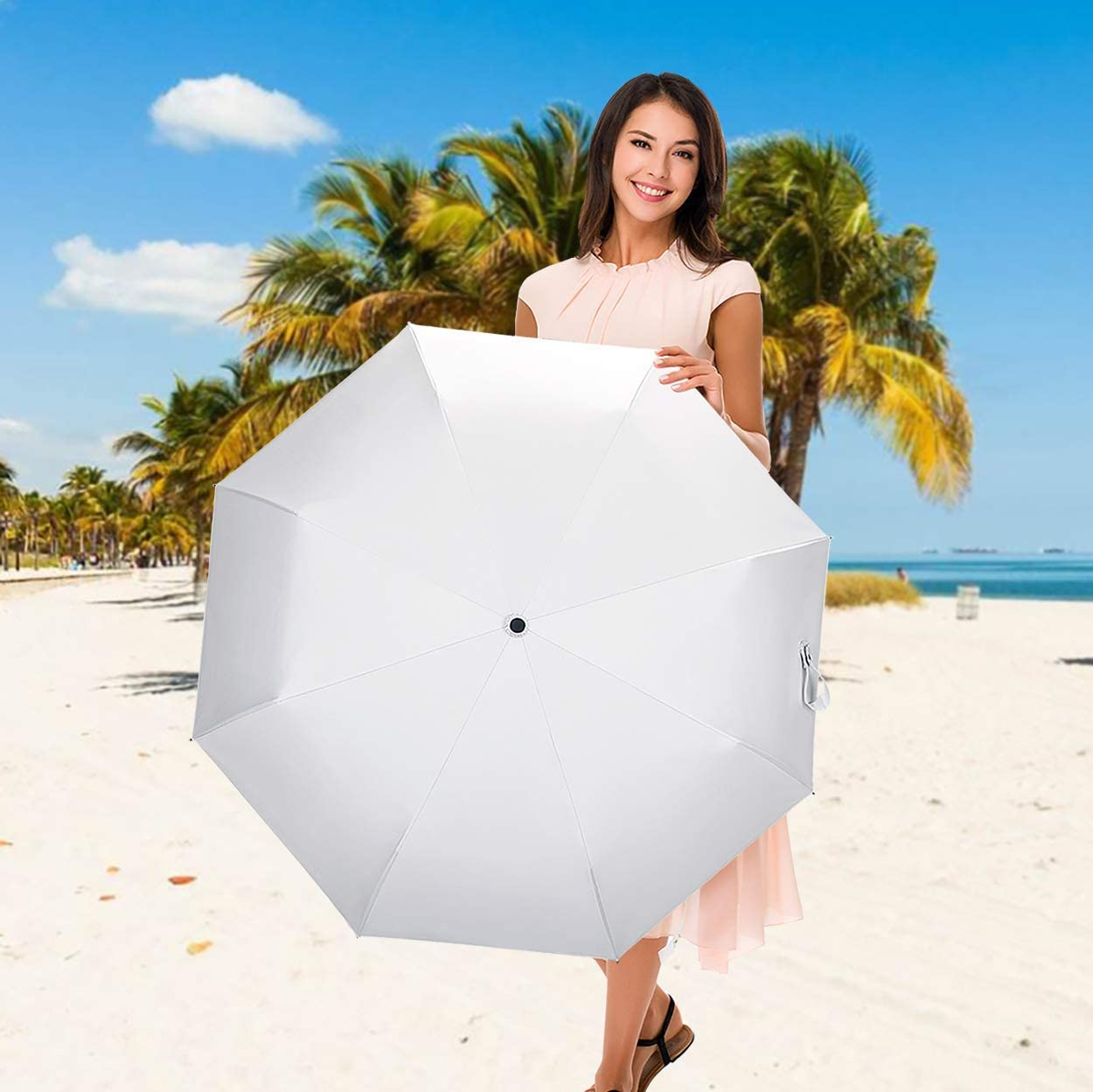 Blanc Pur Parapluie Parapluies pliants,Interrupteur Automatique Parapluie Haut de Gamme,Convient pour Les Hommes et Les Femmes,100/% UV d/éfense,CUBY cr/éer Le Parapluie Parfait