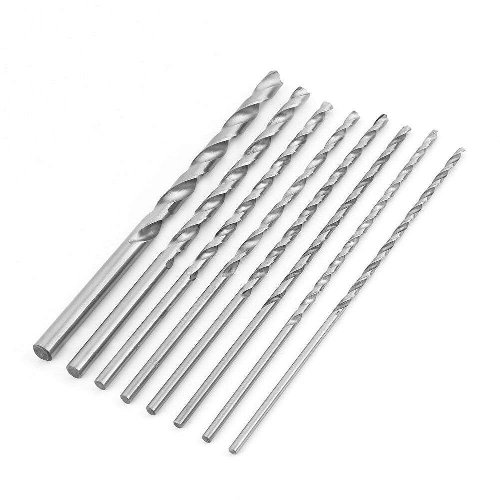 8pcs 200mm Extra Long High-speed Steel Straight Shank Twist Drill Bits Set Tool 4-10mm For Wood Plastic And Aluminum