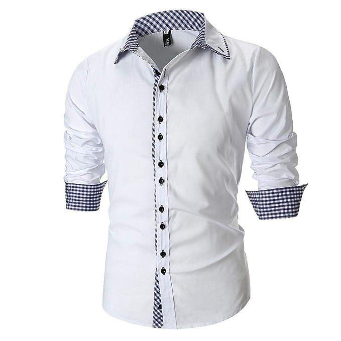 Resplend La Blusa Superior de la Camisa Escocesa de Manga Larga Delgada Ocasional de los Hombres