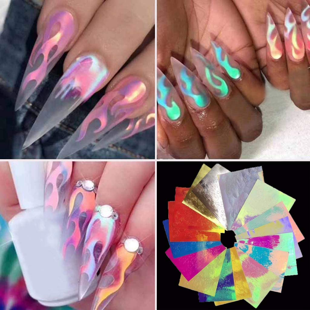 Amazon Com Flame Reflections Nail Stickers 16pcs Holographic Fire Flame Nail Art Decals 3d Vinyls Nail Stencil For Nails Manicure Tape Adhesive Foils Diy Decoration Kitchen Dining