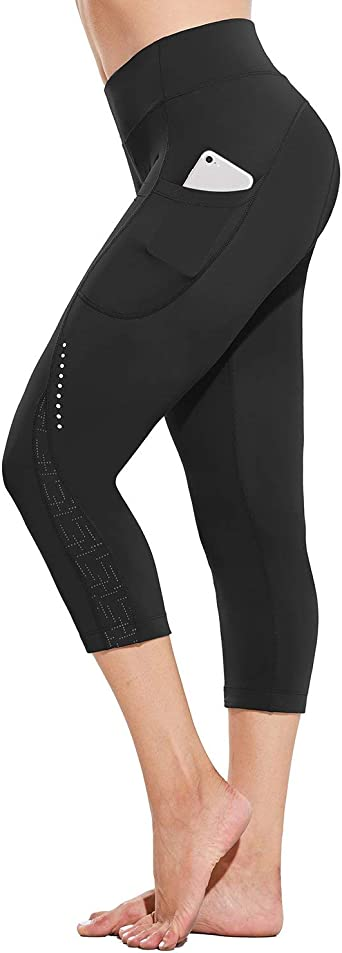 BALEAF Womens 3D Padded Cycling Pants Bike Shorts Capris Breathable 3//4 Tights with Pockets UPF 50+