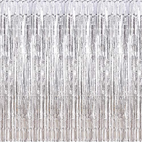 Sumind 10 Packs Foil Curtains Tinsel Curtains Photo Booth Backdrops for New Year's Christmas Party Decorations Disco Decor Wedding Birthday Party Curtains -
