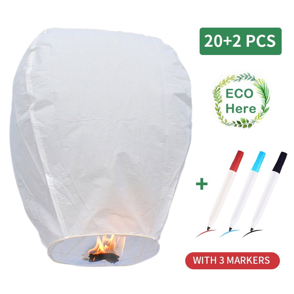 20 Pack Fire Sky Lanterns Kongming Wish Lanterns Chinese Paper Sky Flying Wishing Lantern Lamp Candle Party Wedding Wish with 3PCS Markers (White)