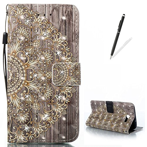 KaseHom Samsung J7 (2017) Leather Case + [Free Black Stylus Pen],Golden Flower Painted Pattern Shiny Glitter Diamond Flip Magnetic Wallet Holster with [Card Slots] Shockproof Protective Cover