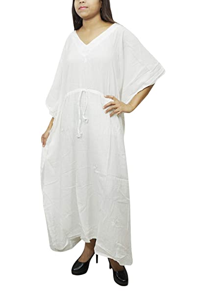 c842175d8d Image Unavailable. Image not available for. Color  Mogul Interior Womens  Kaftan Maxi Dress White Kimono Cotton Gauze Kimono Caftan L