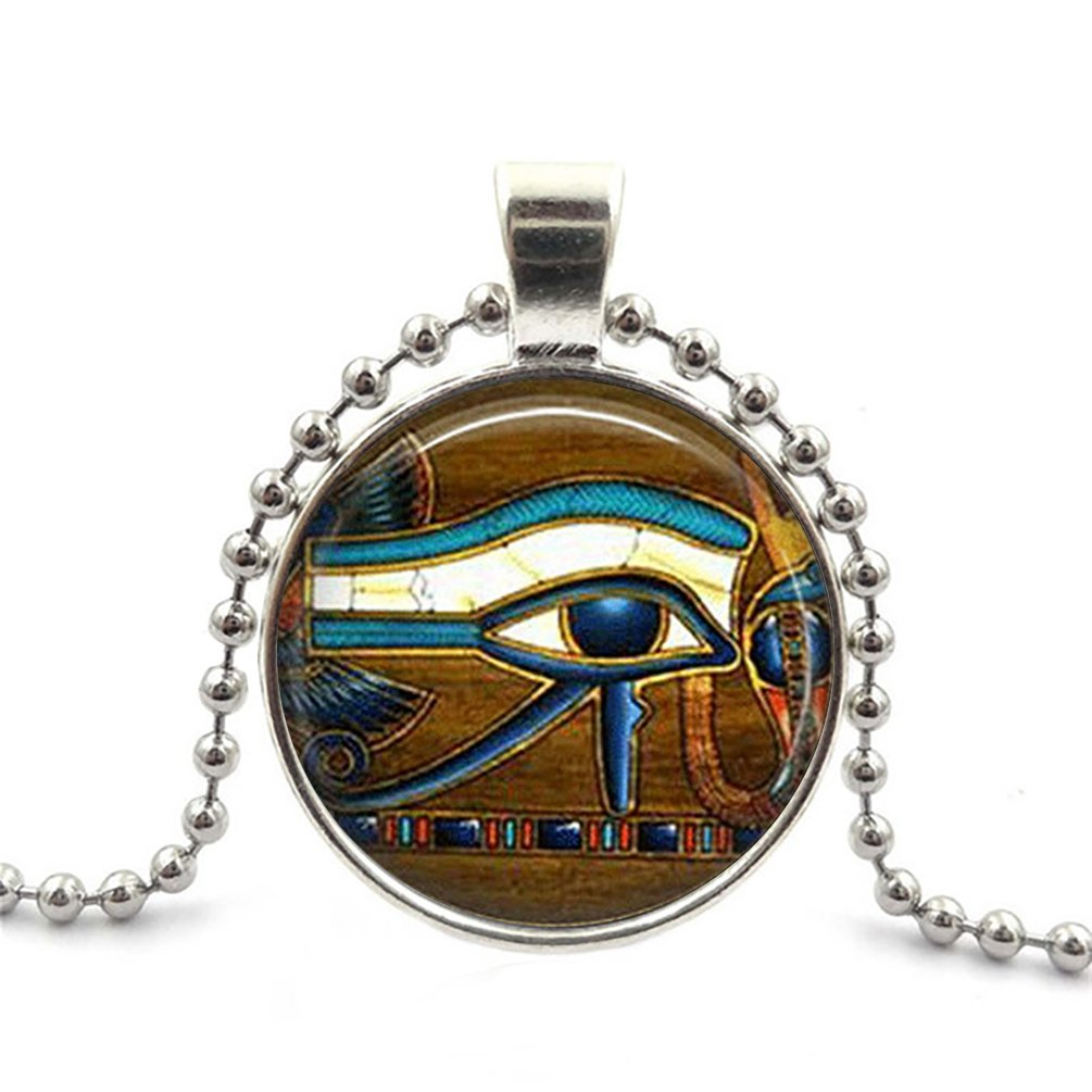 SunShine Day Silver Necklace,Women/Mens Chain Necklace with Pendant Tile Eye Of Horus Egyptian Eye Deasign Chain Necklace Set