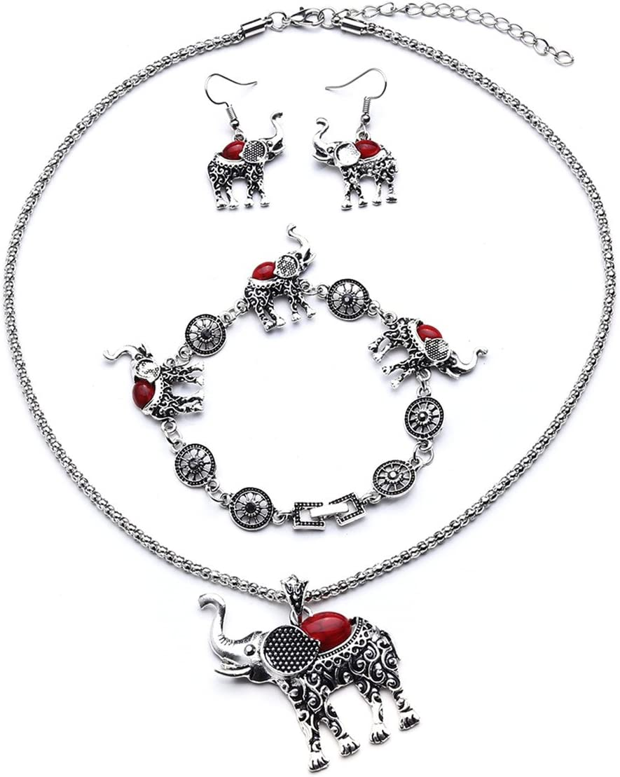 THREE Set Red and Grey Necklace Bracelet Earring