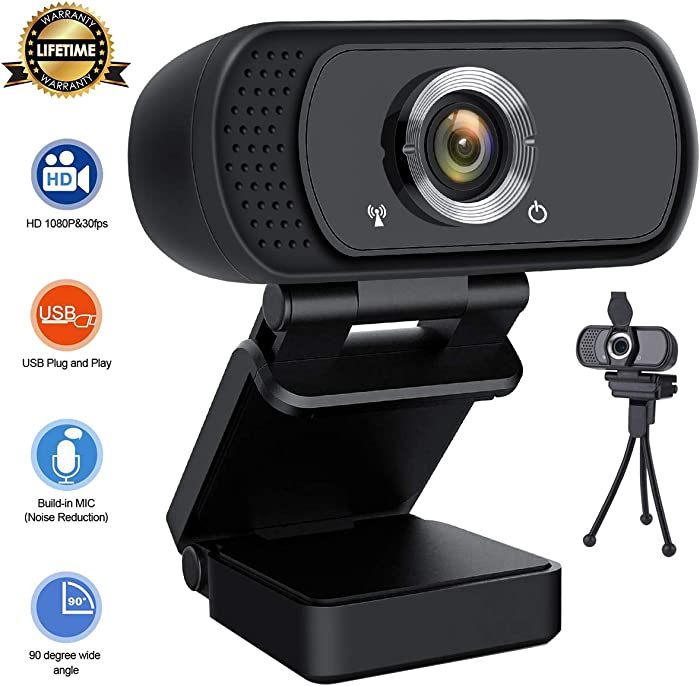 Lasllaves HD Webcam 1080P,Live Streaming Webcam USB Plug and Play Web Camera for PC Laptop Desktop,90-degree Wide Angle Webcam with Microphone for Video Conference Recording Gaming Skype XBox One OBS