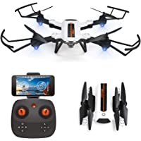 HAOXIN F22G FPV RC Drone Foldable Quadcopter with Wide-Angle Adjustable 720P HD Camera, Optical Flow Position Long Range Outdoor Drone Easy to Fly Helicopter Route Planning,Long Life Modular Battery