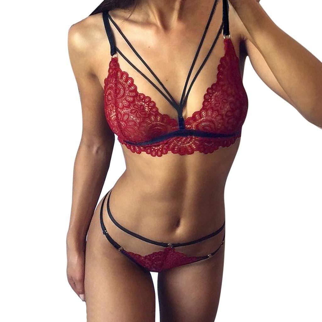 Simayixx Women Sexy Lingerie Babydoll Bodysuit Bralette Bra and Panties Set G-String Underwear Sleepwear Strap Chemise Wine Red