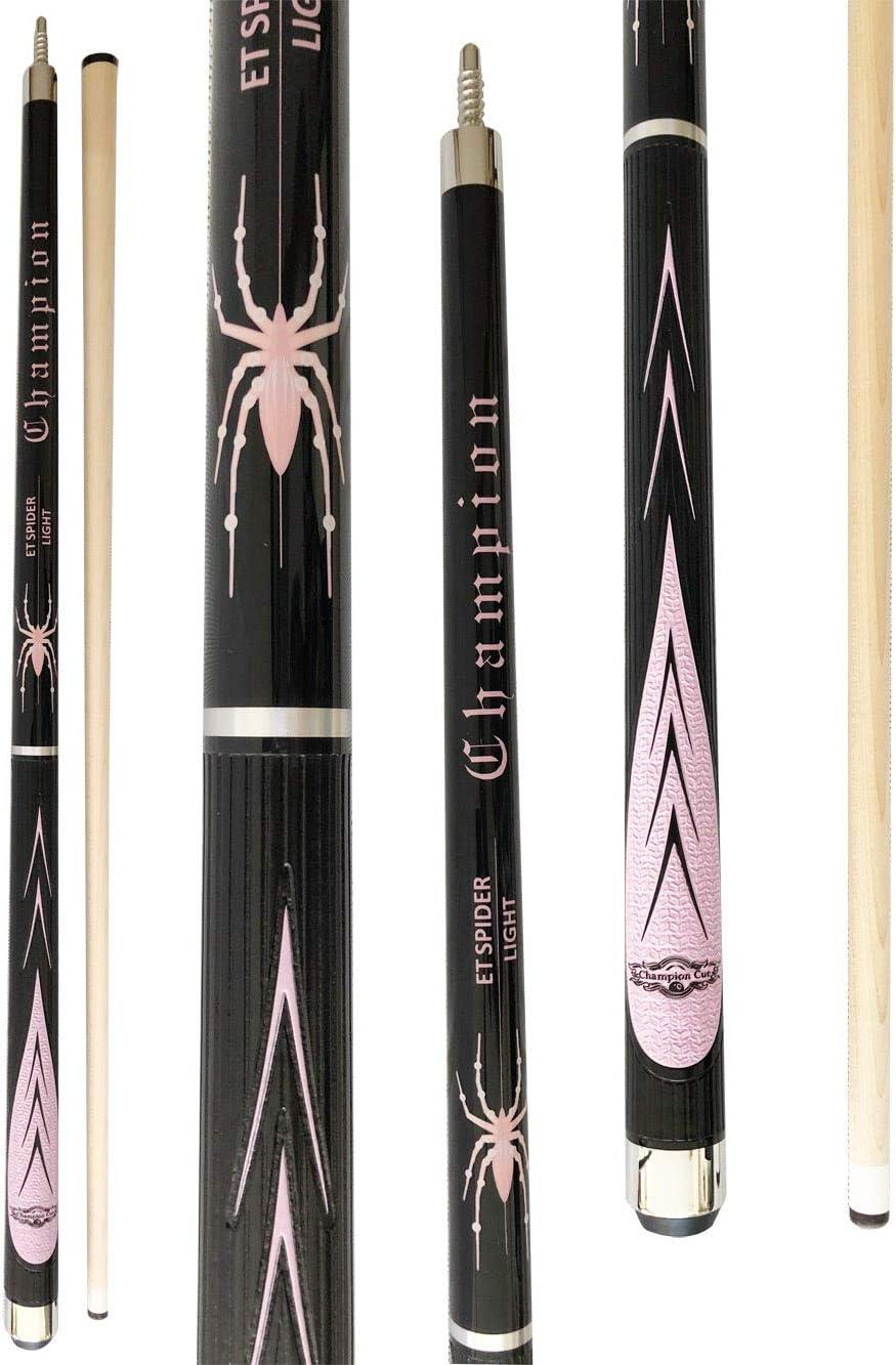 Champion Spider Billiards Maple Pool Cue Stick (18 oz, 19 oz, 20 oz, 21 oz), Champion or Cuetec Billiard Glove