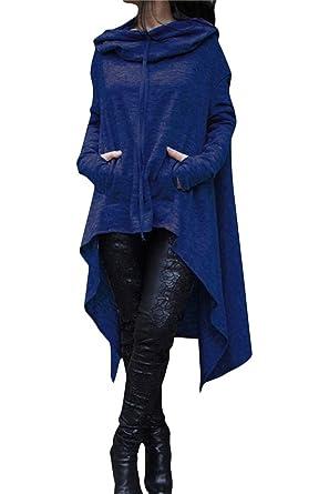 1a73a2a1b1 ThusFar Women s Loose Long Sleeve Asymmetric Hem Sweatshirts Solid Color  Pullover Hoodie Dress Blue S