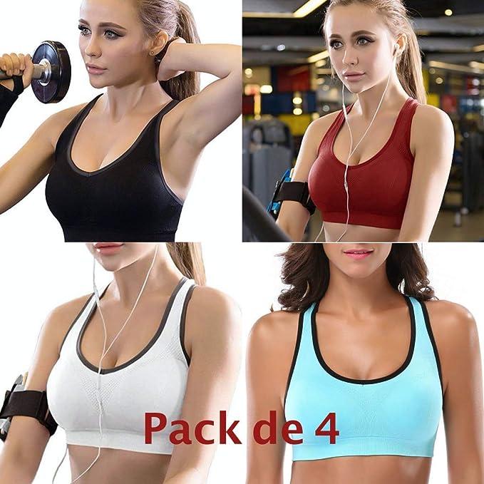 4X Sujetador Deportivo Pack de 4. Almohadillas Extraíbles Top Bra Deporte sin Costuras para Yoga/Fitness/Run/Ejercicio/Acolchado Deportivo de Alto Impacto con Espalda Descubierta