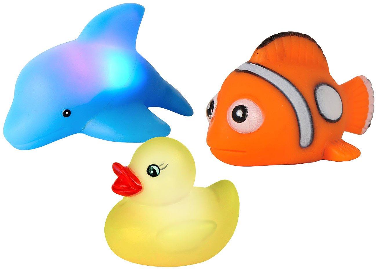 Playtastic Badewannentierchen: Blinkende Badewannen-Tierchen im 3er-Set (Wasserspielzeug)