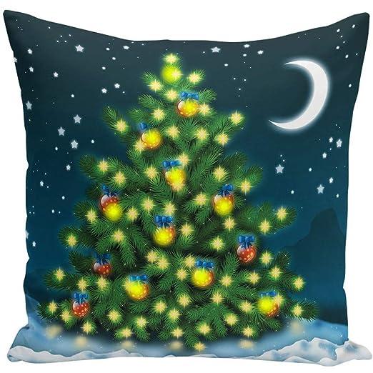 ZQEU Funda de cojín de Navidad con Luces LED, Funda de ...