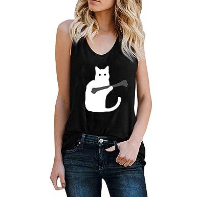 Chaleco de Mujer Camiseta Sin Mangas Estampado de Gato Color ...