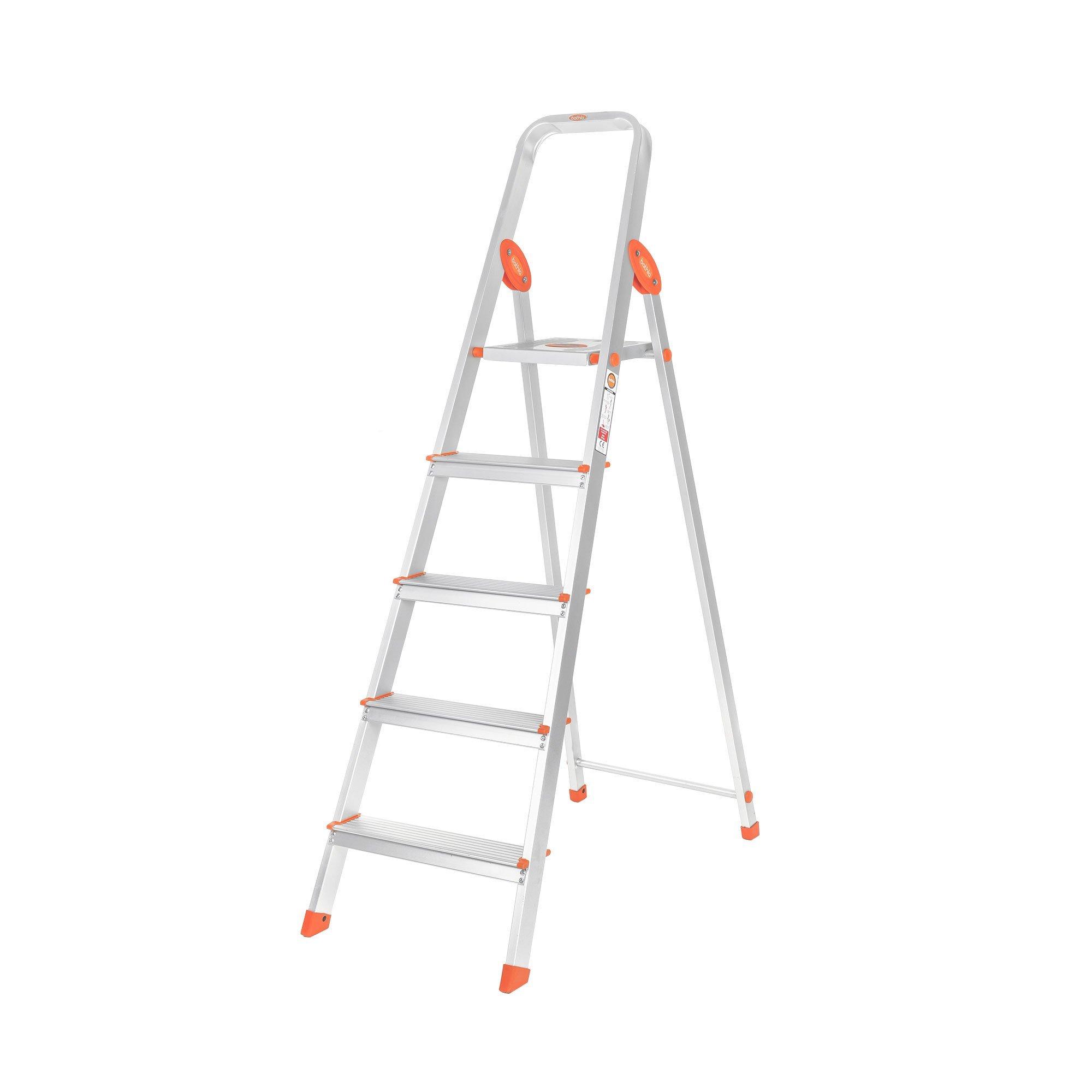 Bathla Advance 5-Step Foldable Aluminium Ladder with Sure-Hinge Technology (Orange) product image