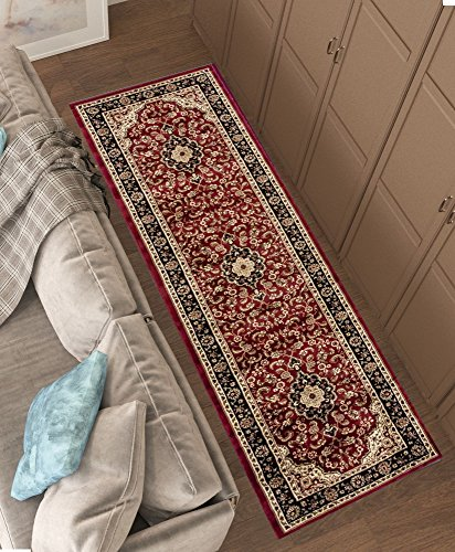 Persian Classic Red Burgundy 2'7'' x 9'6'' Runner Area Rug Oriental Floral Motif Detailed Classic Pattern Antique Living Dining Room Bedroom Hallway Office Carpet Easy Clean Traditional Soft Quality