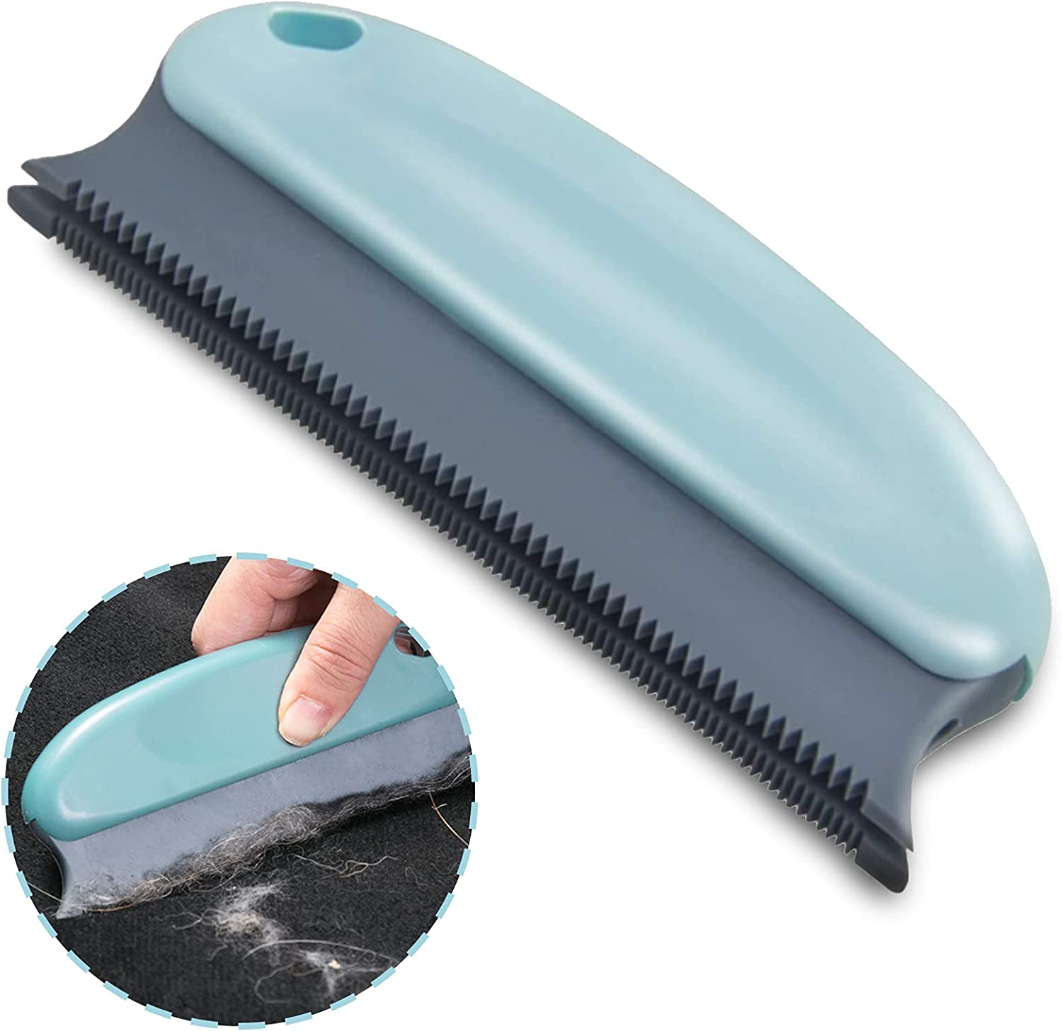 PETDOM Pet Hair Remover Rubber Brush - 6 Inch Long Double Row Comb Teeth and Anti-Slip Handle - Easy to Remove Cat Dog Hair & Lint from Carpet, Cat Tree, Pet Bed and Pet Furniture