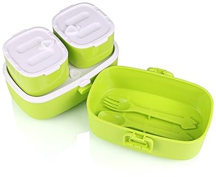 Look Best Lunch Box para niños I Bento Caja de fugas I 3 compartimentos I Desayuno