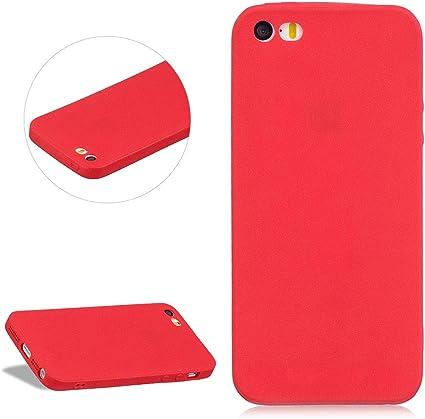 DasKAn Couleur Unie Mat Silicone Coque pour iPhone 5 / 5S / Se, Ultra Mince Antichoc Souple Gel TPU Housse de Protection Étui de Téléphone, Rouge