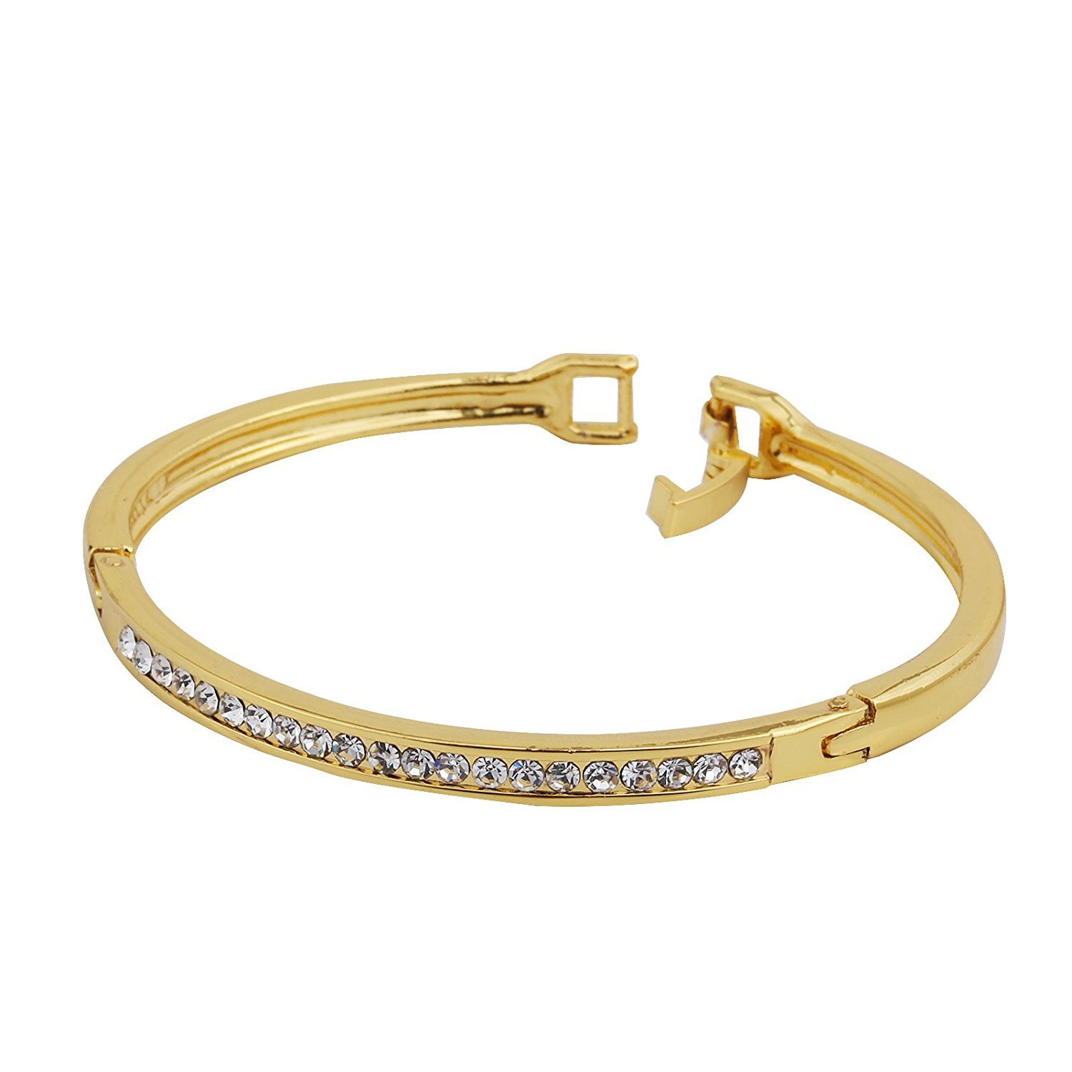DVANIS Bangle Gold Plated Bangle with Diamante Crystal Bracelet Diameter:2.2In
