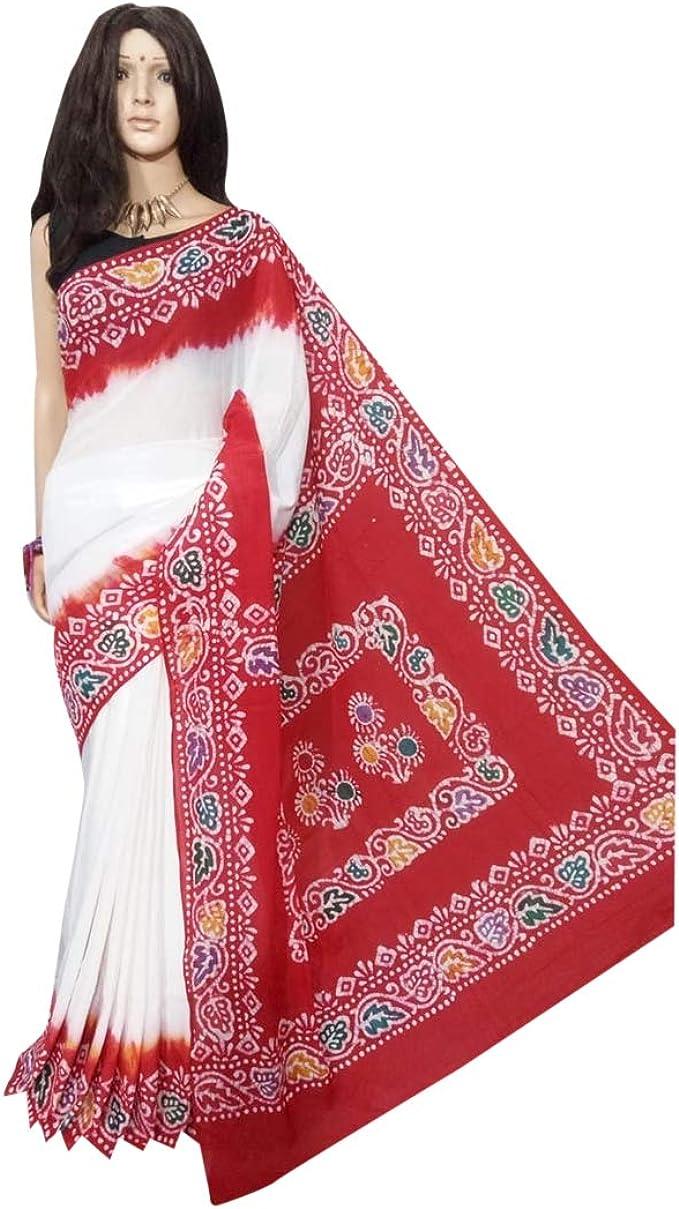 ETHNIC EMPORIUM Damen Sch/öne Hand gedruckte Batik Baumwolle Saree Beil/äufiges Sari Bluse Designer Frauen Indian Ethnic Von West Bengal 144A 6,25 mtr Wie gezeigt