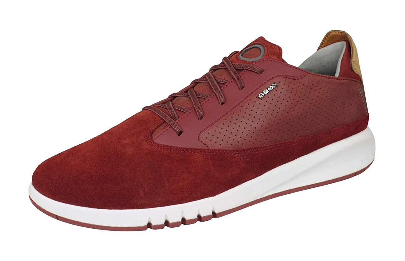Red Geox U Aerantis A Mens Leather Sneakers shoes
