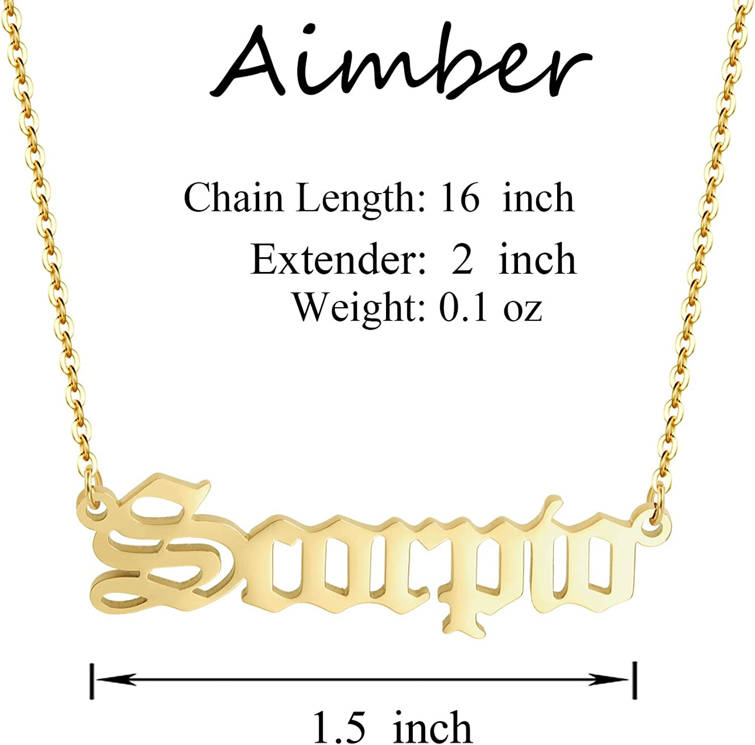 Aimber Old English Zodiac 18K Gold Necklace for Women and Girls Constellation Necklace Birth Star Sign Letter Necklace Horoscope Birth Stainless Necklace Gifts